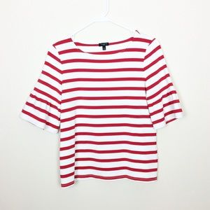 TALBOTS Red and White Striped Top